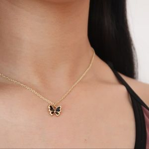Black Butterfly Pendant Necklace - Handmade